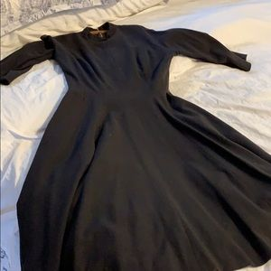 Dresses & Skirts - Vintage custom black wool dress with pockets